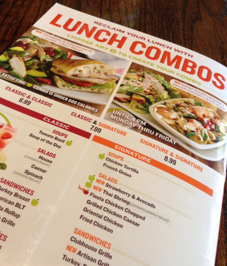Applebees Lunch Combo Menu